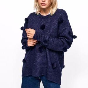 Zara Knit • Blue Pom Pom Oversized Sweater Medium